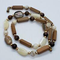 "Vintage MOP Abalone Banded Agate Wood Bead Necklace Surfer Boho Gold Tone 17.5"""
