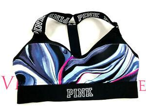 Victoria's Secret Pink Ultimate T-Back Push-Up Sports Bra Multi-color Swirl NWT