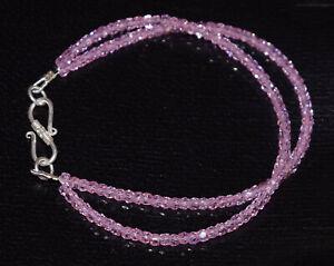"""925 Sterling Silber 2 Schicht Bracelet 5-10"""" Round Cut pink Zirkon Edelstein rfv544"""