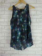 JAG Top/Blouse Sz 14 Black Purple Blue watercolor print 100% silk exposed zip