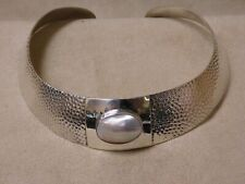 Hammered Sterling Silver and Mabe Pearl Collar Necklace