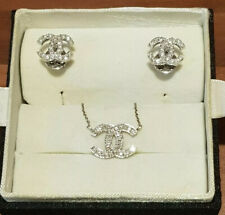 Women's 14ct White Gold & Diamond Necklace and Earring Set