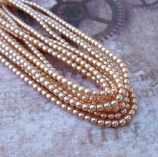 Strand of 150 Faux Pearl Beads Mini Glass Pearls Peach 2mm PRL02-72313