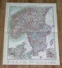 1932 ORIGINAL VINTAGE MAP OF SOUTHERN SWEDEN AND NORWAY / DENMARK