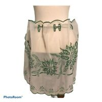 Vintage Christmas Half Apron Shear Green Poinsettia Holly Berry
