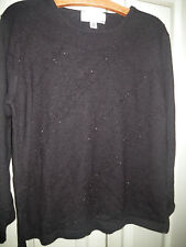 Collectable Classics M 12 14 Black Beaded Waves Merino Wool Knit Tunic Top