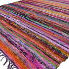 Indian chindi vintage rag rug hand loomed throw runner carpet striped hand woven