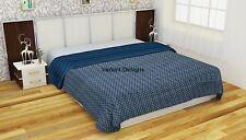 Indigo Blue Queen Cotton Kantha Quilt Throw Blanket Bedspread Handmade Gudari