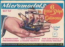 Micromodels Original old set S1 , 6 Little Ships and Galleons