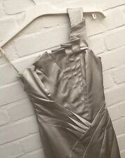 Karen Millen Dress Size 8 6 Silver Long Evening Prom Wedding Party One Shoulder
