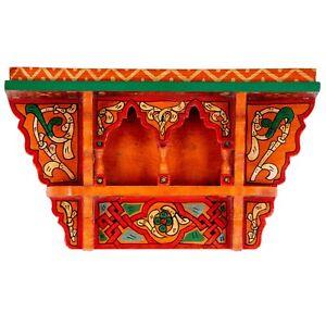 Orange Painted Moroccan shelf, Wall Shelves Floating Shelves, Rustic Floating