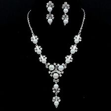White Gold GP Clear Crystal Shell Pearl Necklace Earrings Wedding Jewelry Set 49