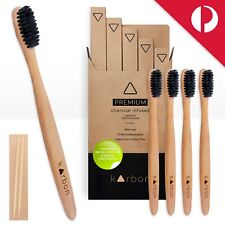 BAMBOO Toothbrushes w/ CHARCOAL Infused Bristles Soft 5 Pack Biodegradable Vegan