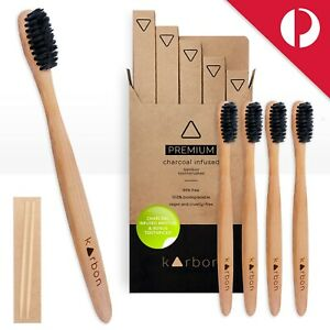 BAMBOO 🦷Toothbrushes CHARCOAL Infused Bristles Soft 5 Pack Biodegradable Vegan