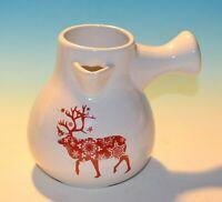 MODERN GOURMET FOODS DEER Reindeer Snowflake HOLIDAY COCOA POT/PITCHER Ceramic