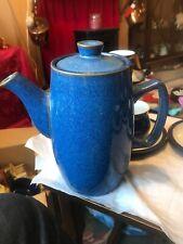 VTG DENBY STONEWARE LARGE MIDNIGHT BLUE COFFEE POT 2 1/2 PINT VGC