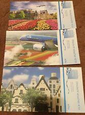 3 Postcards KLM Airlines 10 Euro Voucher Boeing 787 Delft Blue Houses Tulips
