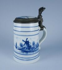 Antique 19c Delft Porcelain Blue White Decorated Courting Lithopane Signed Stein