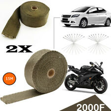 2X  AU Local WRAP 50MM X 15M + 20 STAINLESS STEEL TIES 2000F TITANIUM EXHAUST