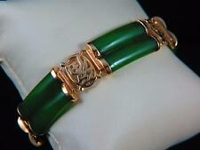 Vintage 14k Yellow Gold and Jade 7.75 inch Bracelet