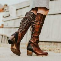 Womens Lace up Knee High Boots PU Leather Vintage Riding Military Combat Boots