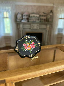 Vintage Miniature Dollhouse Artisan Hand Painted Scalloped Metal Tray Signed