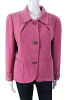 Escada Women's Button Down Collared Jacket Cotton Pink Size 42