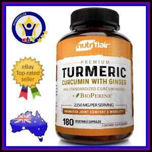 NUTRIFLAIR TURMERIC CURCUMIN + GINGER 2250mg 180 Caps DOUBLE STRENGTH Supplement