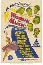WORDS AND MUSIC MOVIE POSTER Original 1948 Aus. One Sheet GENE KELLY LENA HORNE