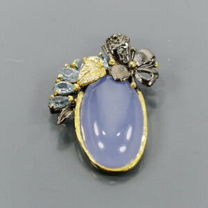 Vintage Chalcedony Pendant Silver 925 Sterling  /NP13769