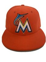 New Era 59fifty Miami Marlins Orange Fitted Hat Size 7 See Pic EUC MLB Baseball