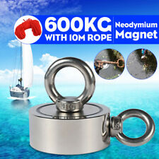 600KG 94mm Double Sided Neodymium Metal Magnet Detector Fishing 2 Ring 10m