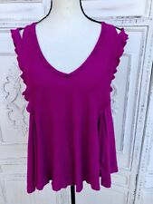 Size S FREE PEOPLE Fuchsia Purple Cold Shoulder Sleeveless Babydoll Swing Top