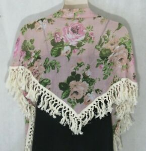 Steve Madden Womens Triangle Scarf Wrap Pink Chic Fall Floral Rose Keep Blooming
