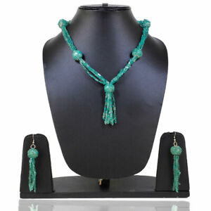 23 Inch Natural Apatite Designer Necklace + Earrings 925 Sterling Silver Clasp