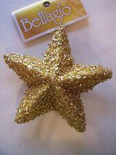 GOLD BEAD & GLITTER STAR ORNAMENT CHRISTMAS TREE DECORATION HOLIDAY