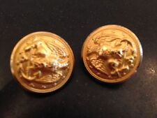 WATERBURY BUTTON COS CONN MILITARY EAGLE GOLD TONE BRASS CLIP  EARRINGS VINTAGE