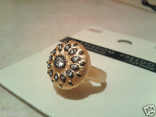 Topshop Ladies Size Medium Gold Plate Rhinestone Spray Ring £25 In Store BNWT