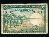 Belgian Congo:P-14,10 Francs, 1941 * Dancing Watusi * F-VF *