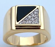 black onyx with .90 carat cz stone mens ring 18K yellow gold overlay size 14