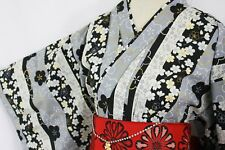 浴衣 Yukata japonais traditionnel SAKURA NOIR (M/L) MADE IN JAPAN