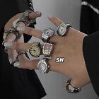 2021 New Individuality Vintage Punk Elastic Stretchy Quartz Watch Rings Hip- C❤
