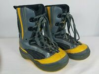 5150 Kids Crow Snowboard Boots Kids Size 4 (Eur 35) Grey W/ Yellow Trim