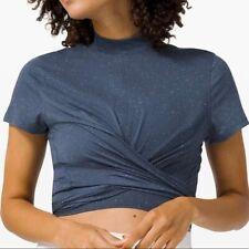 New listing Lululemon EUC Time to Restore Mock Neck Short Sleeve Blue & White - Size 8