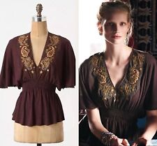NWOT Anthropologie Brown Crewel Paisley Tee Top By Tiny Retail $88.00 Size M