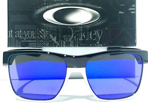NEW Oakley TWO FACE XL Black Chrome POLARIZED Galaxy Blue mirrored Sunglass 9350
