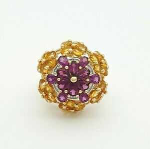 Ladies Ring 9ct (375, 9K) Yellow Gold Natural Citrine & Amethyst Ring