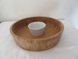"""Large Chip 'n' Dip Wood Serving Dish and Ceramic Bowl Le Vrai Gourmet 12"""""""