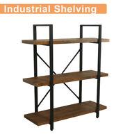 3 Tier Industrial Shelf Shelving Iron Storage Shelves Bracket Bookshelf Bookcase