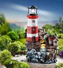 Gartenbrunnen LED Solar Brunnen Leuchtturm XXL Küste Felsen Garten Balkon